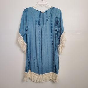 Tye Dye Teal Fringe Dress